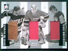 BERNIE PARENT MARTIN BRODEUR PATRICK ROY TRIPLE GAME USED MEMORABILIA 50