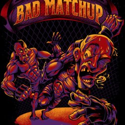 Custom t-shirt design illustration of two MMA fighters in a comic book style