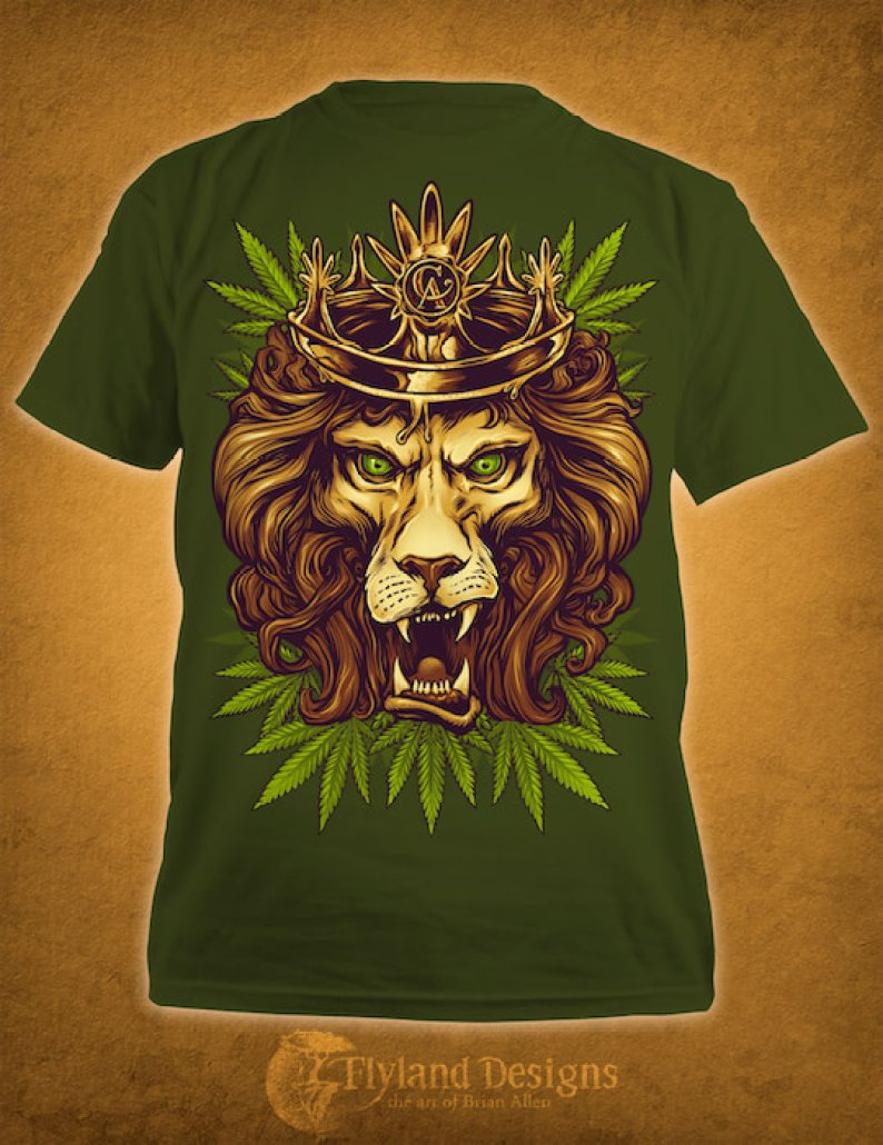 T-Shirt design of an illustrated lion wearing a crown of amber colored wax.