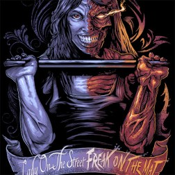 Custom t-shirt illustration of a crossfit woman demon lifting weights
