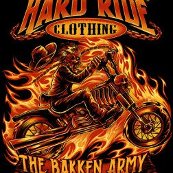T-Shirt illustration of a skeleton on fire riding a chopper motorc