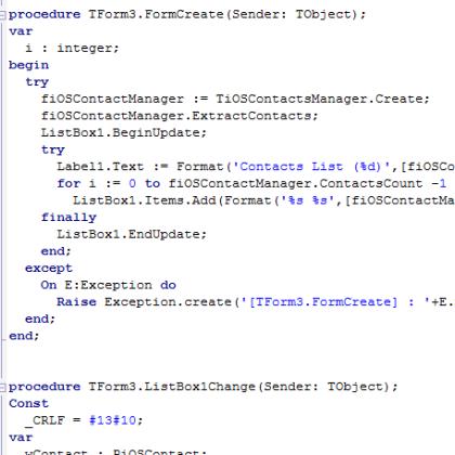 IOS Contacts Firemonkey Delphi XE5