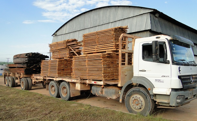 Caminhão apreendido pelo Ibama com madeira ( Foto- Juliano Simionato - Jornal Folha do Progresso)