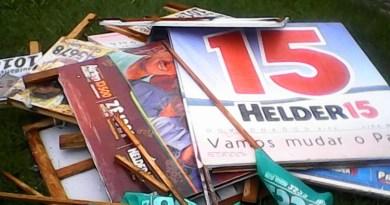 Placas apreendidas por propaganda irregular em Novo Progresso