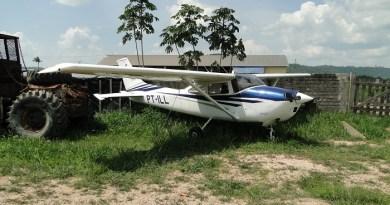 Aeronave apreendida no pátio do Ibama em Novo Progresso (Foto juliano Simionato)