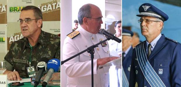 Da esq. para a dir., os novos comandantes do Exército, Eduardo Villas Bôas; Eduardo Leal Ferreira (Marinha); e Nivaldo Rossatto (Aeronáutica) (Foto: Divulgação/Escola Superior de Guerra/Agência Força Aérea)