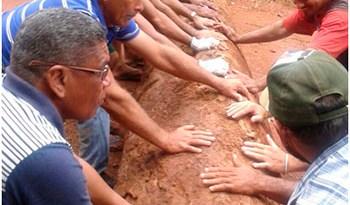 Trabalhadores colocaram toras de madeira para interditar Rodovia