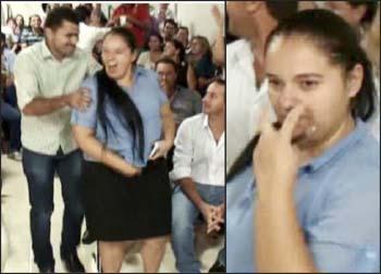 PFilha de prefeito ameaça vereadores Grazieli Romanholi sendo contida e fazendo ameaças(foto Arquivo)