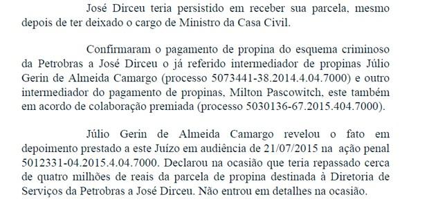 Trecho do despacho em que Moro solicita a prisão do ex-ministro José Dirceu (Foto: Reprodução)