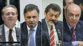 Renan, Aécio, Paulo Rocha (líder do PT) e Serra, alguns dos senadores atuais. © Foto: Fornecido por BBC