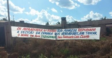 Faixa Fixada na entrada do Bairro São Marcos.