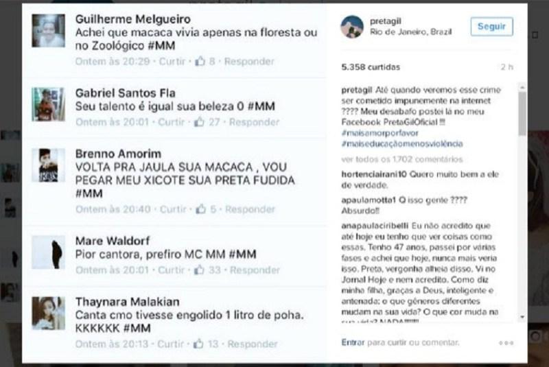 Em seu perfil no Instagram, Preta Gil postou as mensagens de ódio e racistas que escreveram em sua página no Facebook