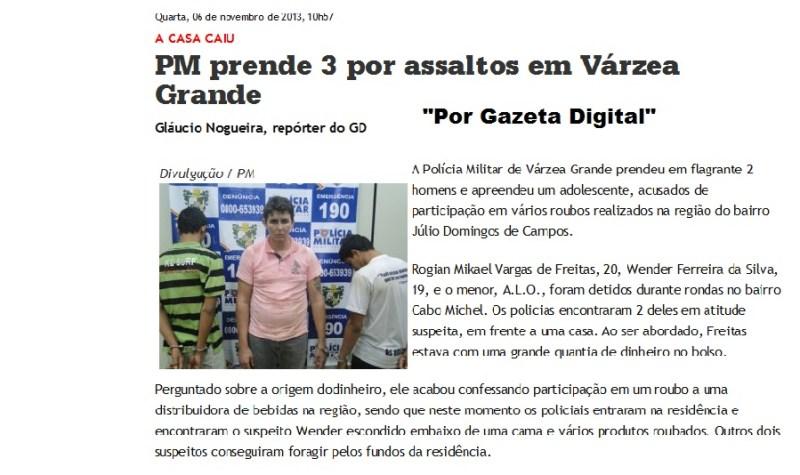 Noticia publicada pelo Jornal Gazeta Digital (MT)>