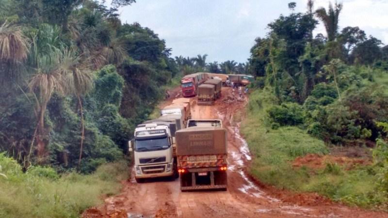Caminhões estão parados na rodovia.
