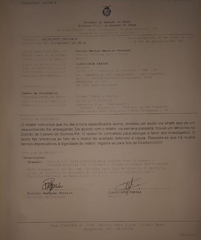 Boeltim de Ocorrencia Registrado na Delegacia de Policia Civil de Novo Progresso