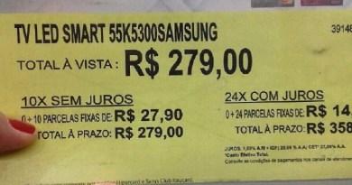 Loja coloca TV à venda a R$ 279, alega erro em etiqueta e causa confusão
