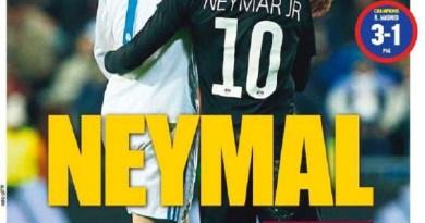 Neymar, durante a partida entre Real Madrid e Paris Saint-Germain (Foto Getty Images )