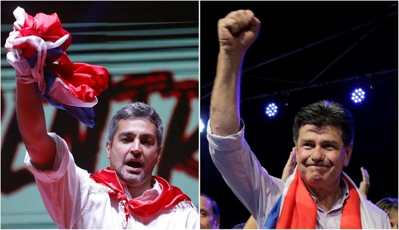 Mario Abdo Benitez e seu opositor Efraín Alegre (Foto: Andres Stapff e Jorge Adorno/Reuters)