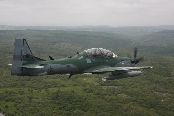 Super Tucano usado pela FAB na operação contra aeronave suspeita Corumbá (MS) (Foto: FAB/Divulgação)