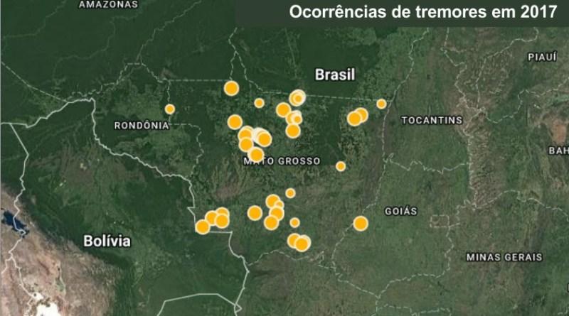 Em 2017 mais de 40 tremores foram registrados em Mato Grosso só em Juara foram 4 no ano