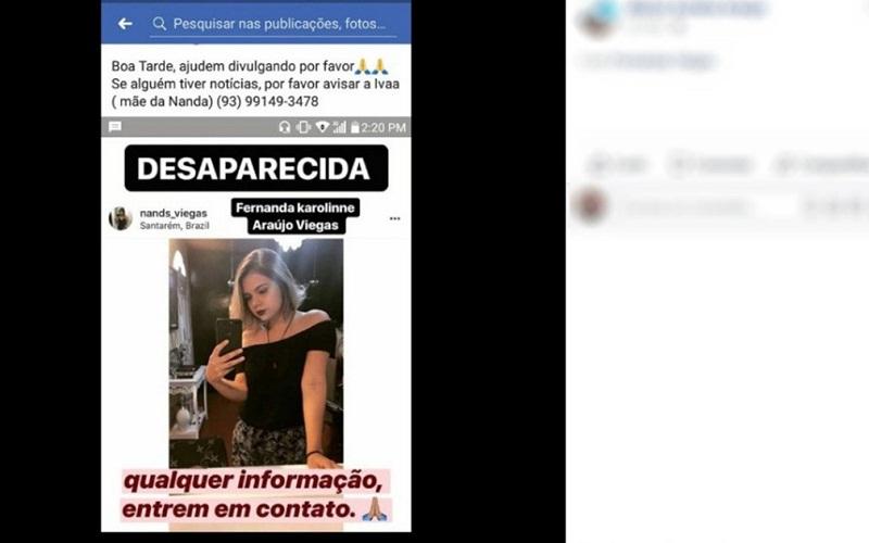 Postagem sobre o desapareciemnto de Fernanda Viégas nas redes sociais (Foto: Reprodução/ Facebook/ Fernanda Viégas)