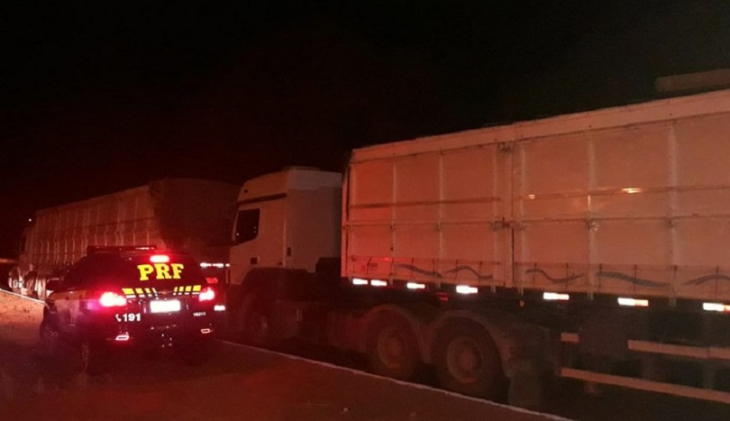Dois caminhões com 70 toneladas de madeira ilegal que saíram do Pará foram apreendidos na BR-163 em Matupá (Foto: Polícia Rodoviária Federal (PRF) de Mato Grosso/Assessoria)