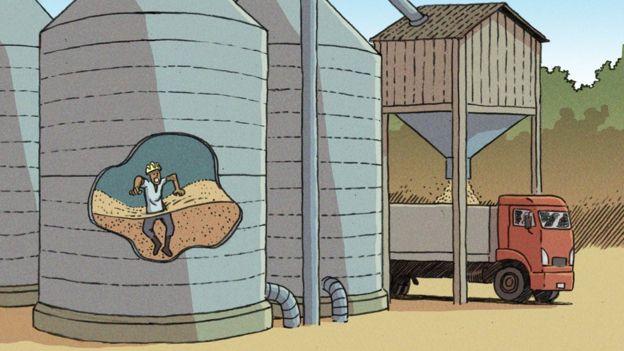 Direito de imagem Vitor Flynn/BBC News Brasil Mortes mais comuns em silos ocorrem quando trabalhador afunda na massa de grãos e é asfixiado