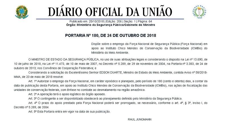Foto: Divulgação/ Diário Oficial da União