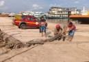 Santarém-Jacaré de quase 3 metros faz 'visita surpresa' e é capturado às margens do rio Tapajós