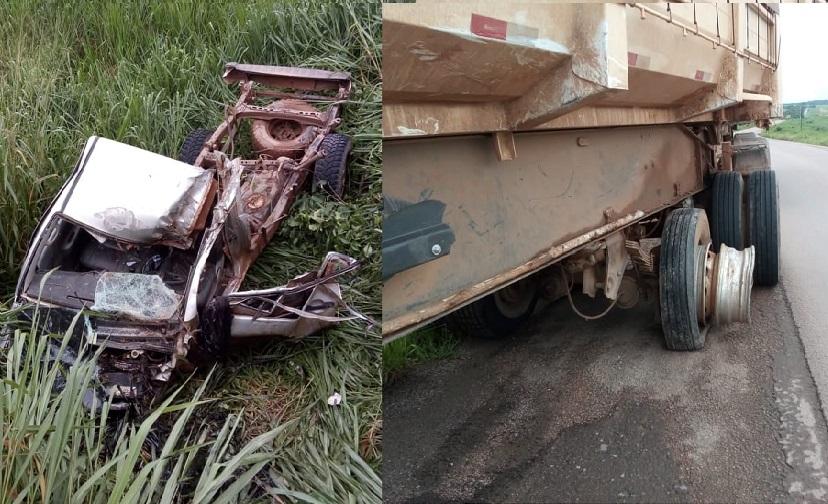 Motorista morre e camionete é destruída após colidir com carreta na BR 163