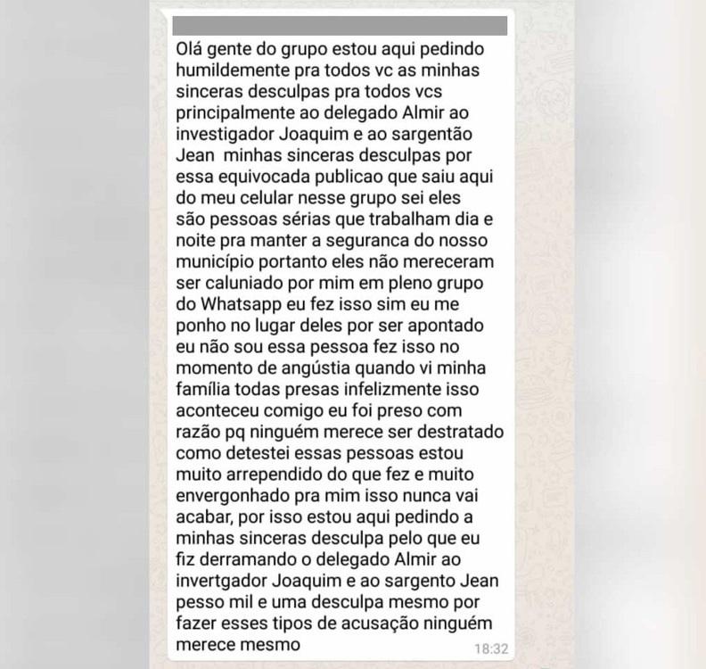 Cabeleireiro fez retratação no grupo de Whatsapp — Foto: Polícia Civil de Monte Alegre/Divulgação
