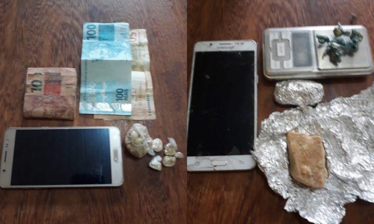 Drogas, celulares e balança apreendidos.(Foto:Policia Militar)