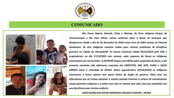 Associação dos Povos Indígenas Waiana e Aparai emitiu comunicado sobre o retorno dos trabalhos — Foto: Facebook/Reprodução