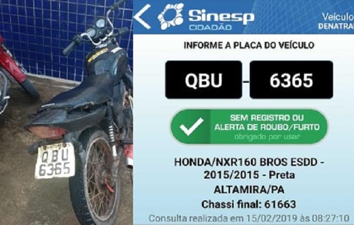 Placa da motocicleta da cidade de Alta Floresta (MT) original de Altamira PA (Foto:Policia)