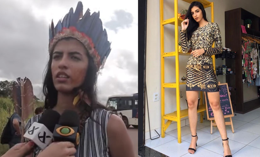 Índia chama atenção em protesto no Pará e recebe ataques na internet