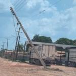 Poste de energia elétrica ameaça cair em bairro de Novo Progresso
