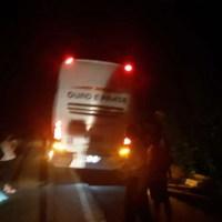 Carro colide em traseira de ônibus na BR 163 em Novo Progresso