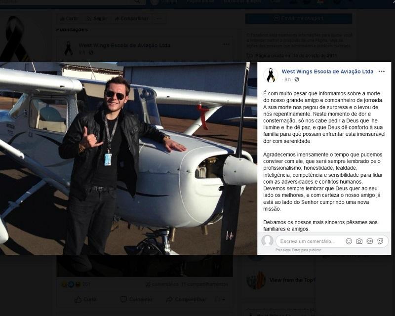 Magnus Padilha pilotava o avião; ele morreu — Foto: Reprodução/Facebook
