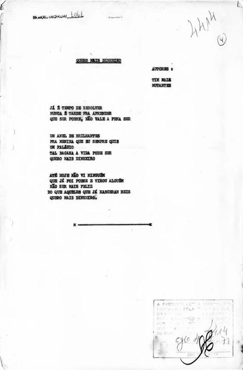 Letra da paródia feita por Tim Maia e Os Mutantes Letra da paródia feita por Tim Maia e Os MutantesLetra da paródia feita por Tim Maia e Os Mutantes - Divulgação/Arquivo Nacional