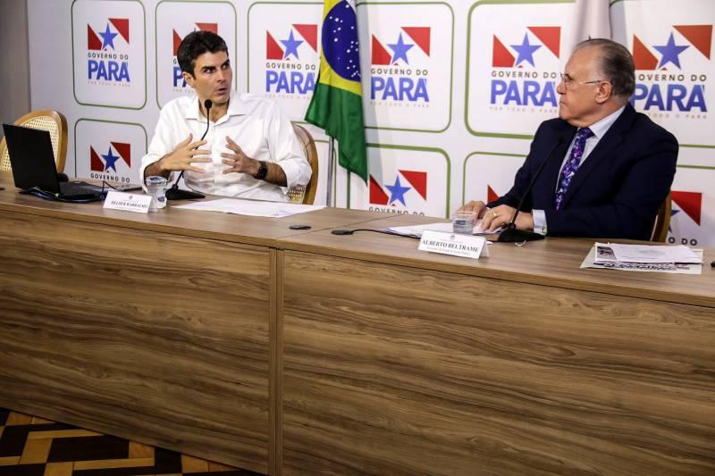 Coletiva com Governador do Estado do Pará Helder  Helder Barbalho frisou que os números atuais refletem a desobediência ao isolamento social Foto: Bruno Cecim / Ag.ParaBarbalho