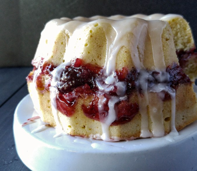 Bundt cake filled with sour cherry and vanilla jam.