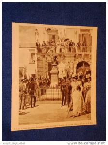 Lecce Festa e Busto al Pittore Gioacchino Toma Immagine estratta dalla rivista Illustrazione Popolare-1898