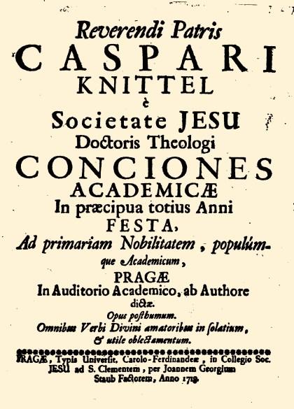 Frontespizio delle Conciones Academicae di Caspar Knittel, stampate a Praga nel 1718.