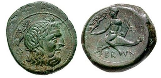 moneta di Brindisi (III secolo a. C.); immagine tratta da http://www.wildwinds.com/coins/greece/calabria/brundisium/AEUncia.jpg