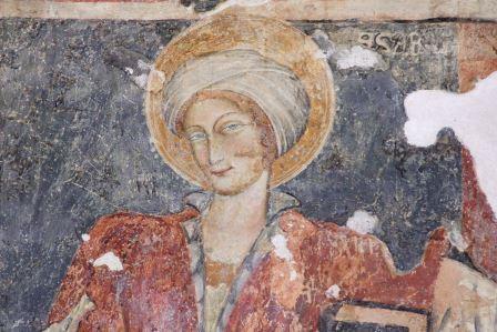 Santa Cesaria, particolare degli affreschi di Nociglia