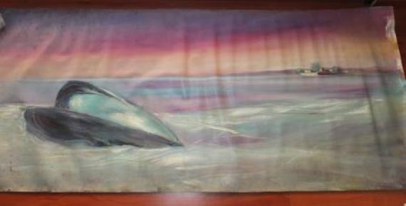 Eros e Thanatos (olio su tela) 180 x 70