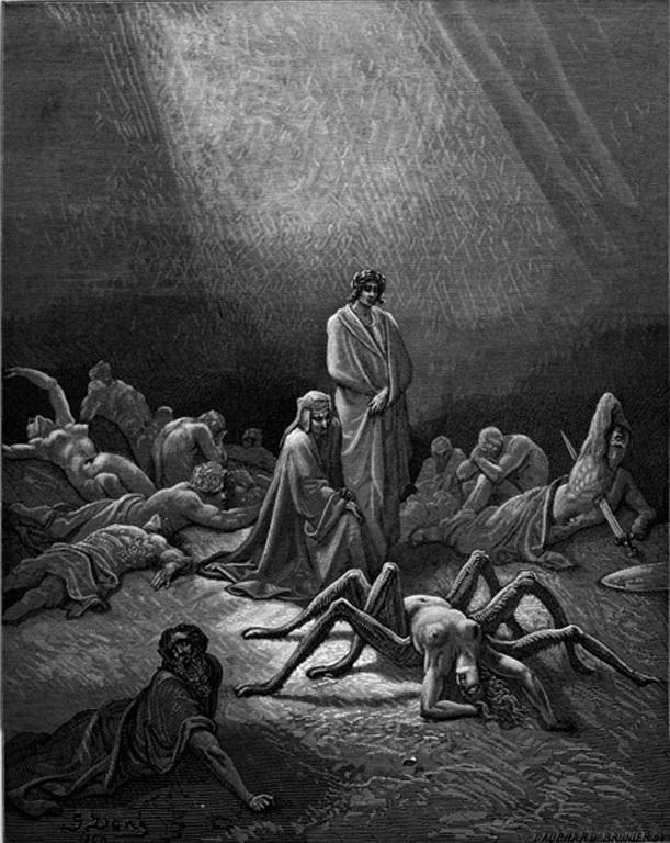 Tavola di Gustavo Dorè per illustrare il mito di Aracne celebrato da Dante  (Purgatorio, XII, 43-45); immagine tratta da http://www.worldofdante.org/pop_up_query.php?dbid=I301&show=more.