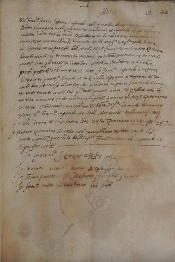 Fede di pagamento del caporale della Torre di San Pietro in Bevagna (1578)
