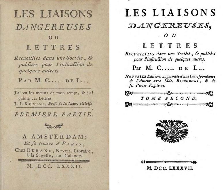 I frontespizi del primo e del secondo volume della prima edizione