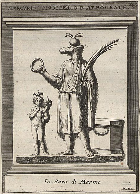Mercurio Cinocefalo e Arpocrate; tavola tratta da Pietro Santi Bartoli, Museum Odescalchum sive thesaurus antiquarum gemmarum, tomo II, Salomoni, Roma, 1752.
